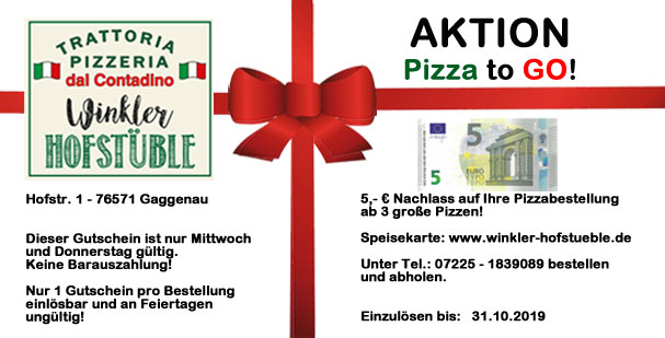 Aktion Pizza to Go - Winkler-Hofstueble Mi-Do - bis 31.10.2019